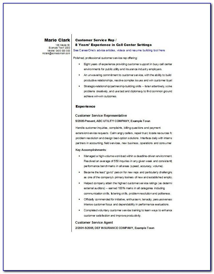 Summary Examples For Customer Service Resume