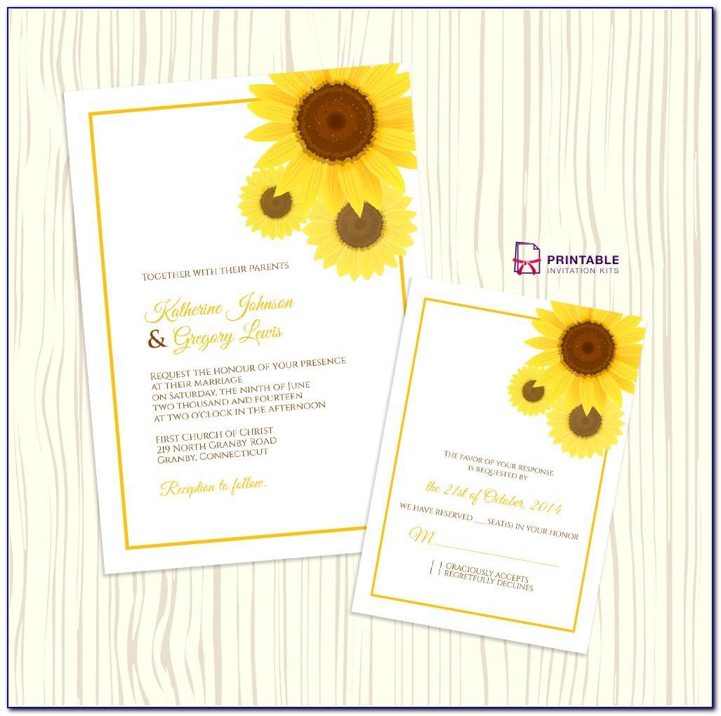 Sunflower Wedding Invitation Templates Free