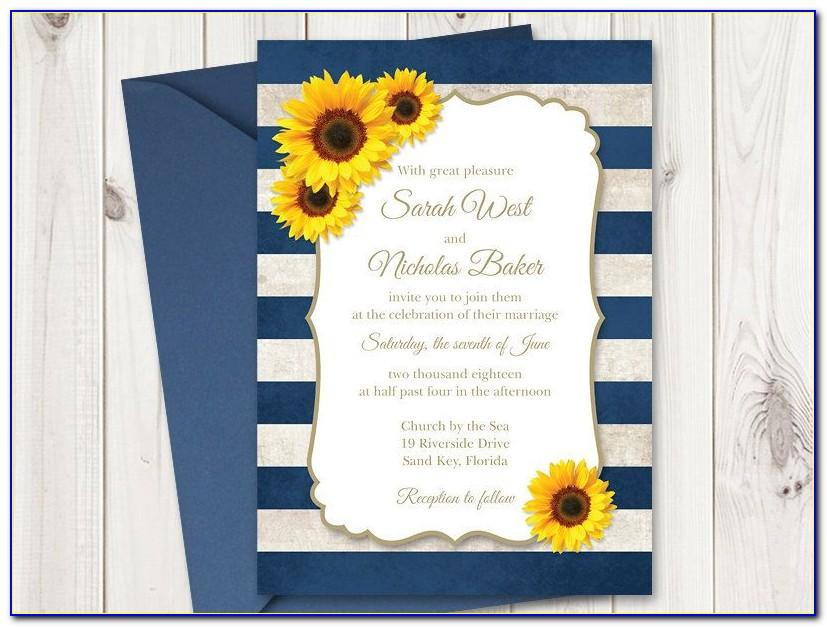 Sunflower Wedding Invitations Templates