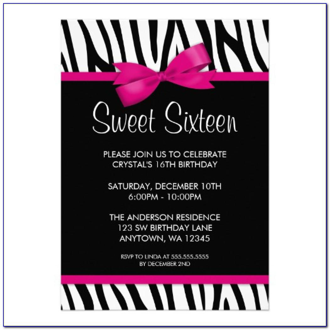 Sweet 16 Birthday Invitation Cards