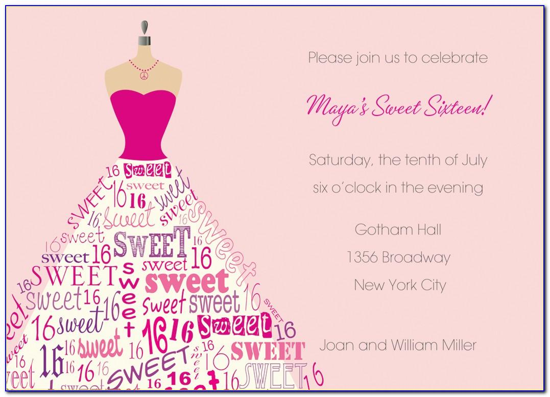 Sweet 16 Invitation Card Templates