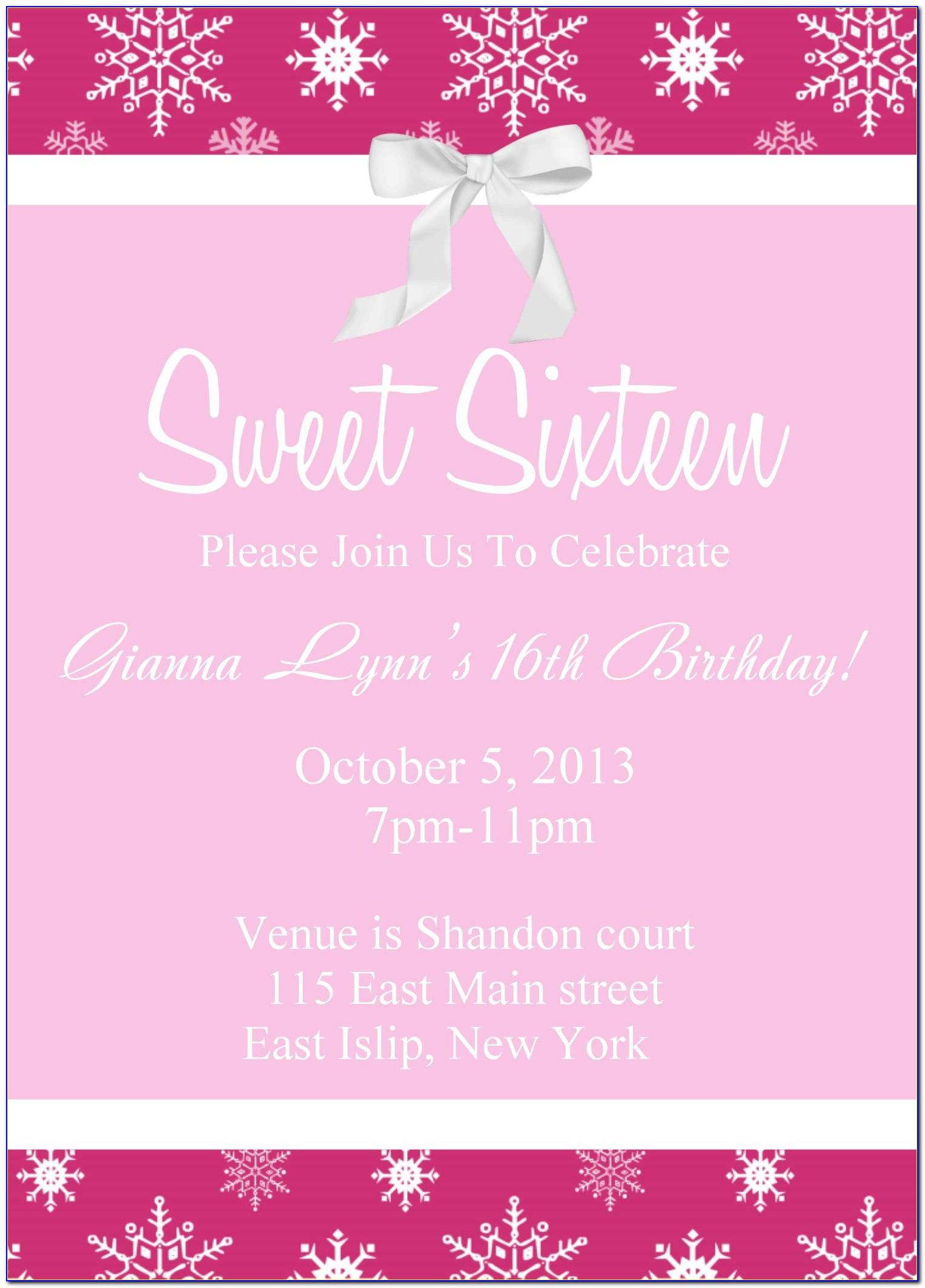 Sweet 16 Invitation Template