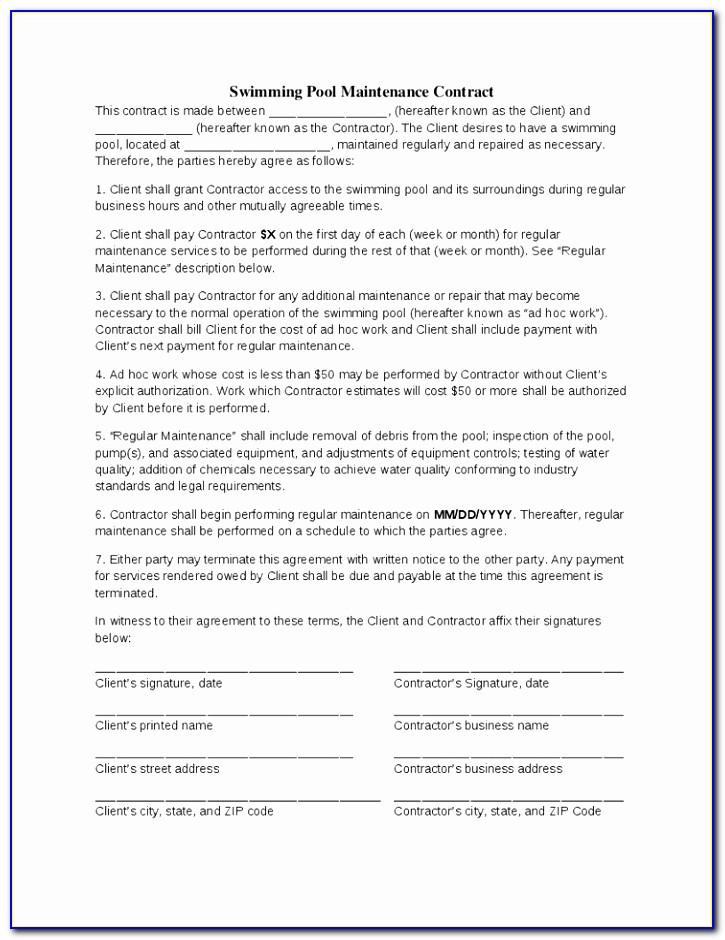 Swimming Pool Contract Forms