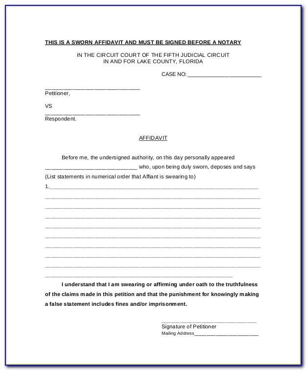 Sworn Affidavit Template Free