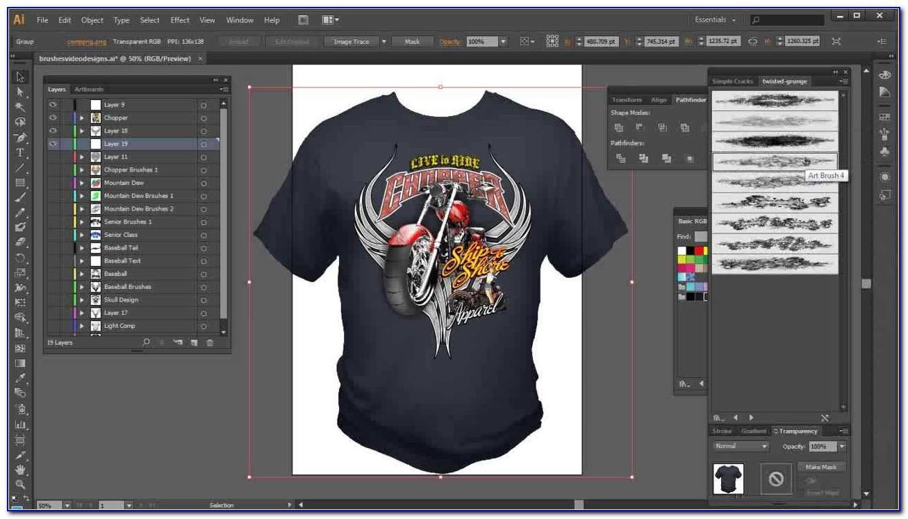T Shirt Mockup Template Illustrator