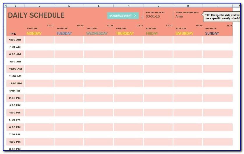 Task Schedule Template Excel