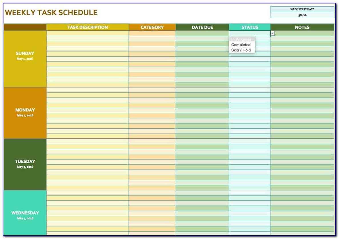 Task Scheduler Template Excel