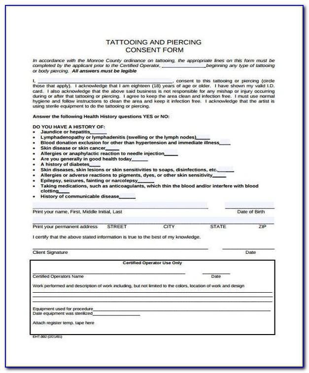 Tattoo Consent Form Template Uk