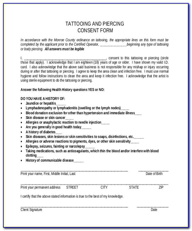 Tattoo Release Form Template