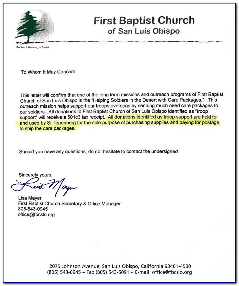 Tax Deductible Donation Receipt Letter Template