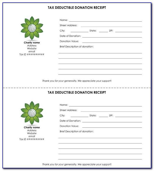 Tax Deductible Donation Receipt Template