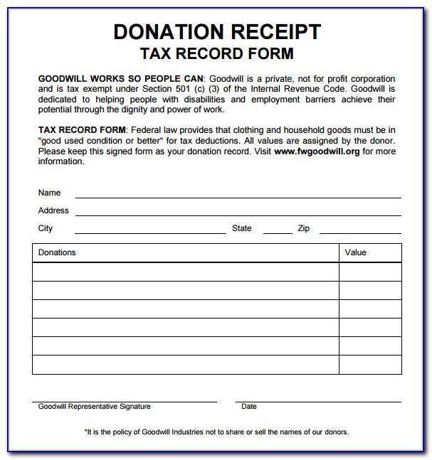 Tax Donation Receipt Format