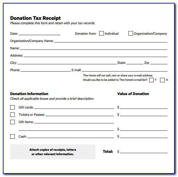 Tax Donation Receipt Template