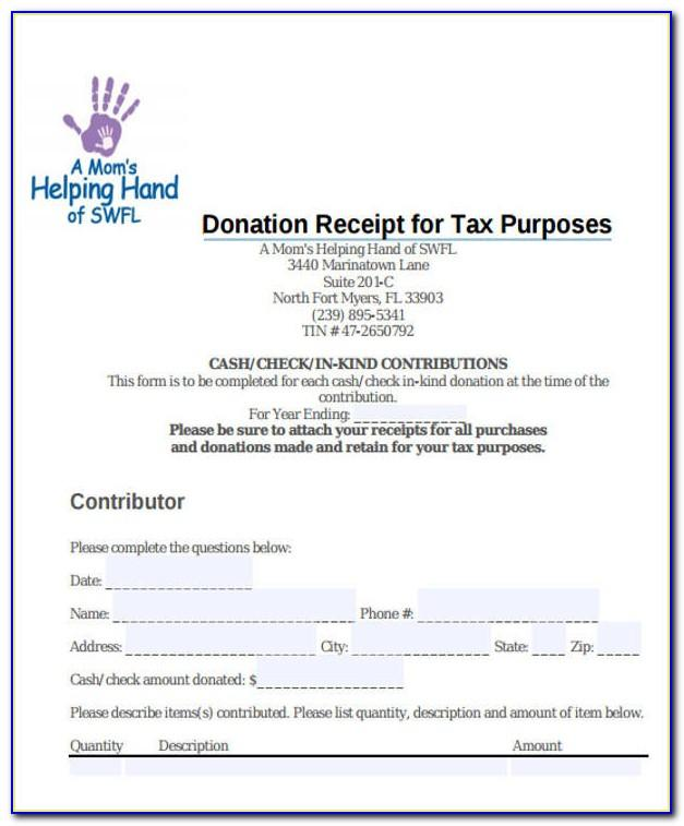 Tax Exempt Donation Form Template