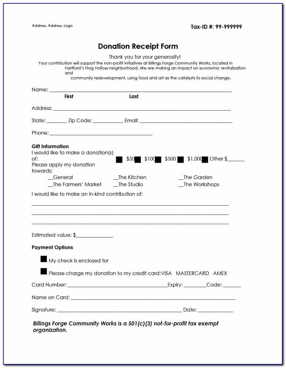 Tax Exempt Donation Receipt Template