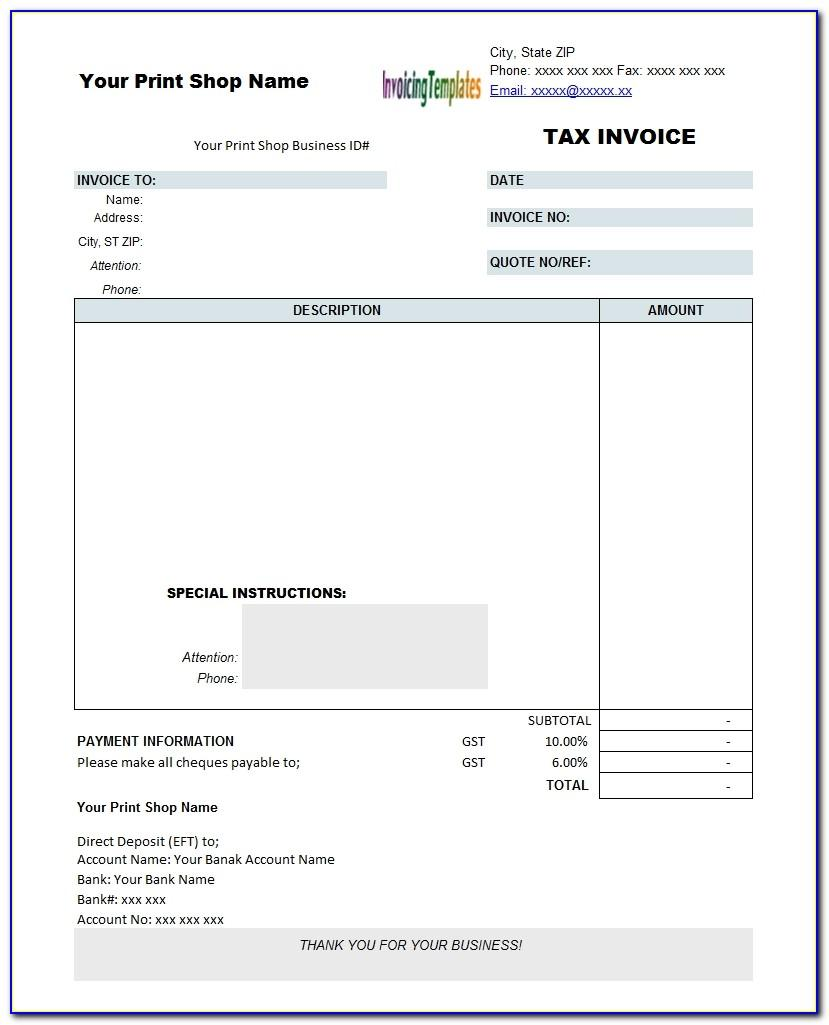 Tax Invoice Format In Word Under Gst