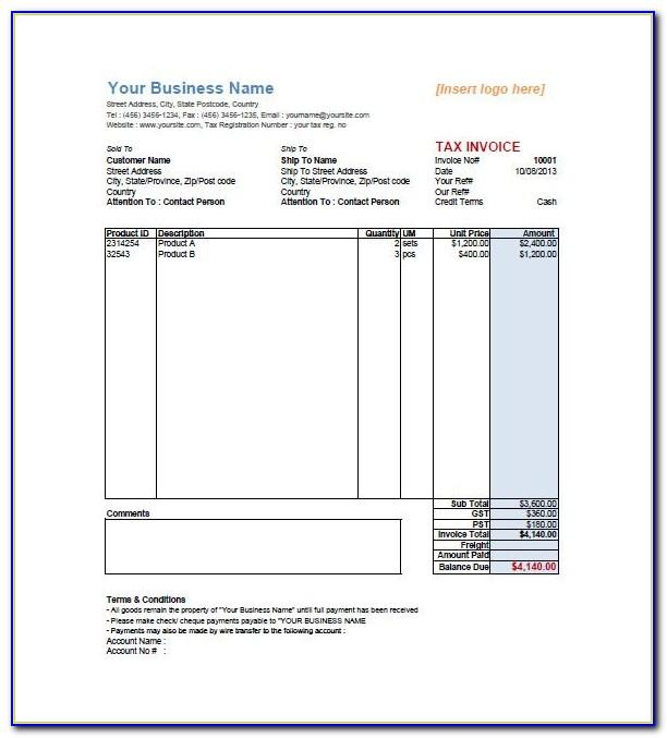 Tax Invoice Template Word 2003