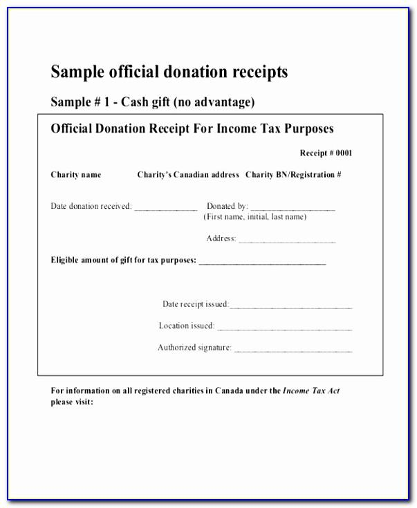 Tax Receipt For Donation Template Canada