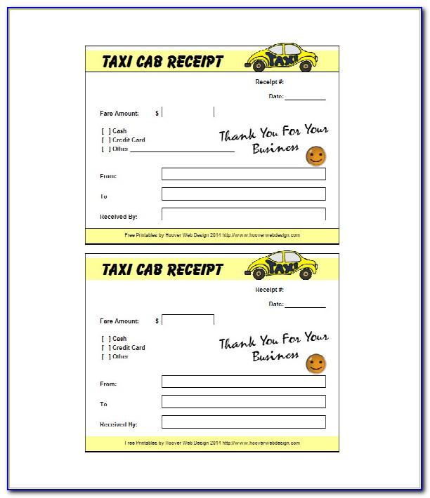 Taxi Receipt Template Excel