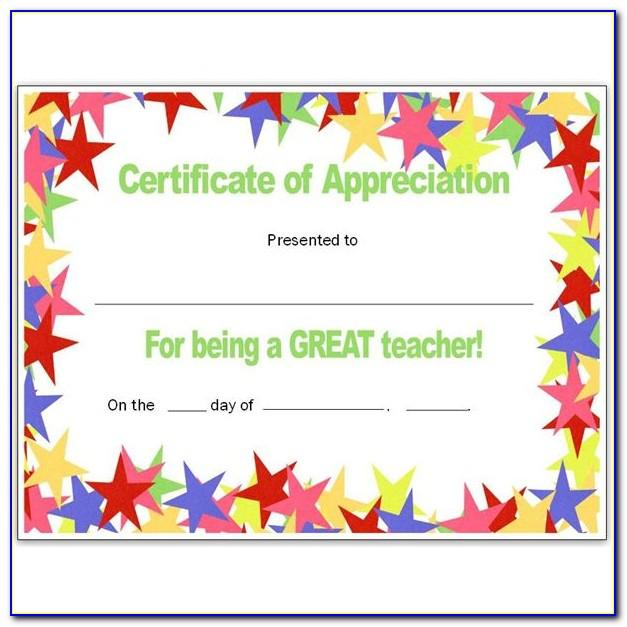 Teacher Appreciation Certificate Sample