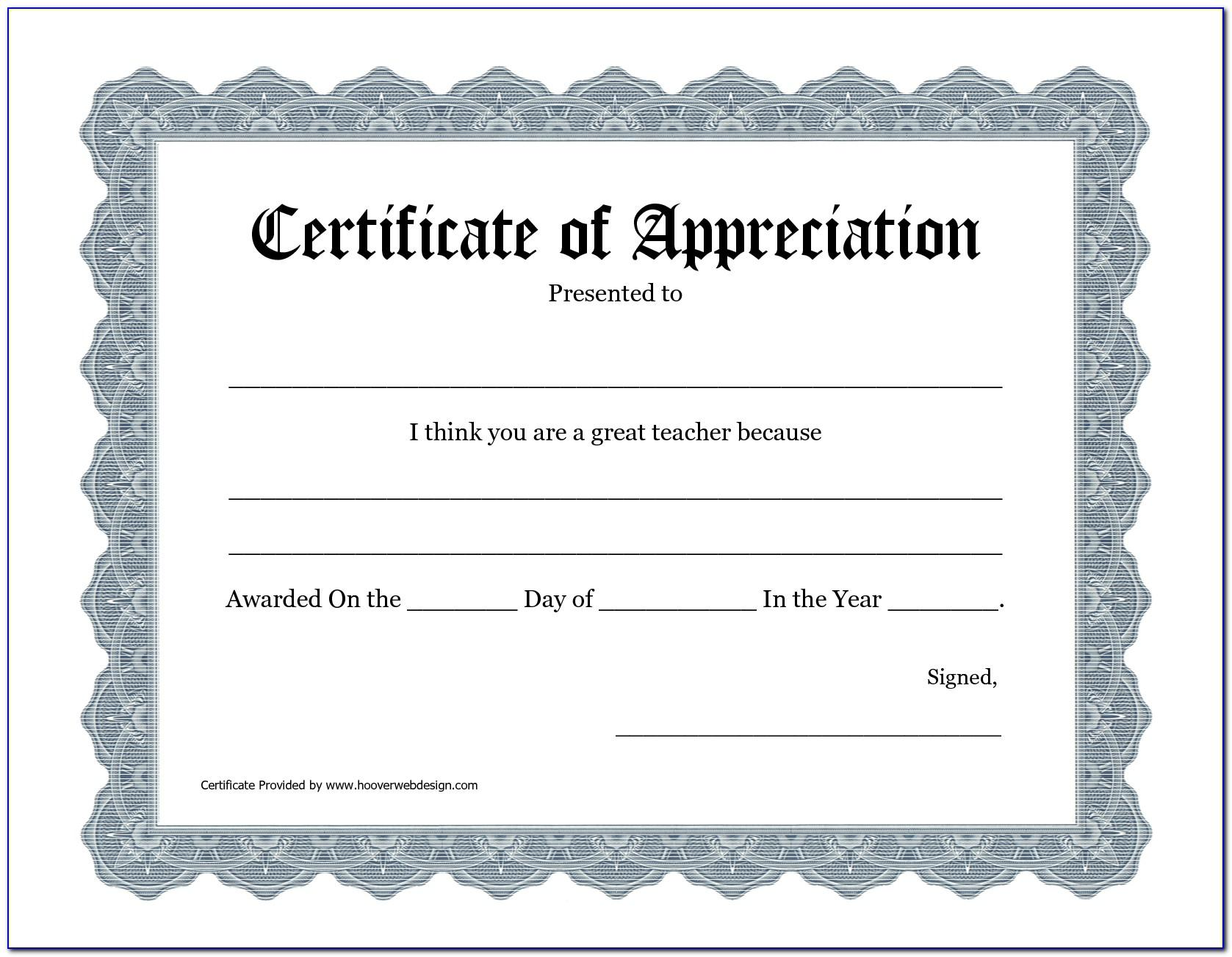 Teacher Appreciation Certificate Template Free