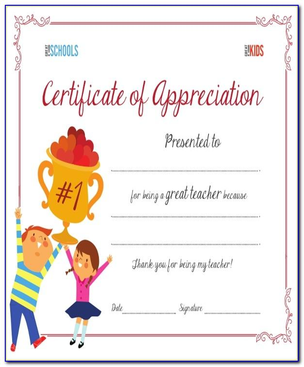 Teacher Appreciation Gift Certificate Template