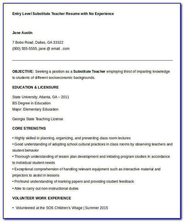 Teacher Resume Template Free Word