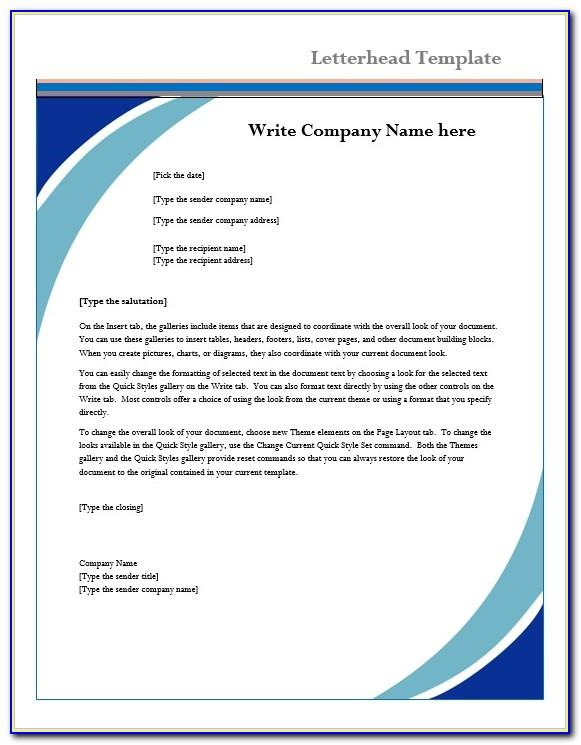 Template Business Letterhead Microsoft Word