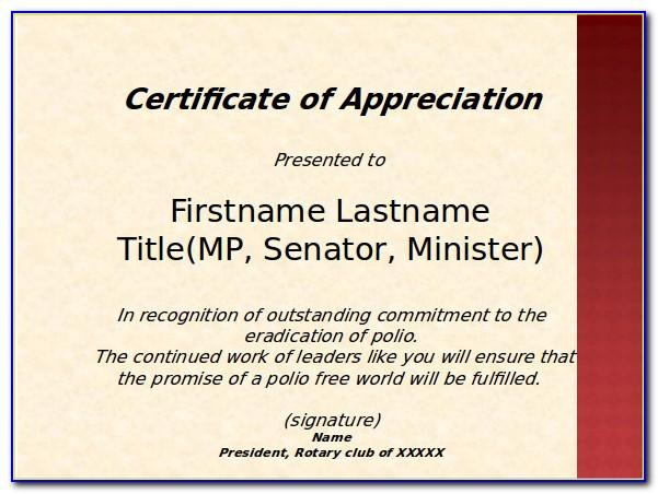 Template Certificate Of Appreciation Free