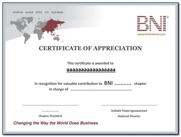 Template Certificate Of Appreciation Microsoft Word