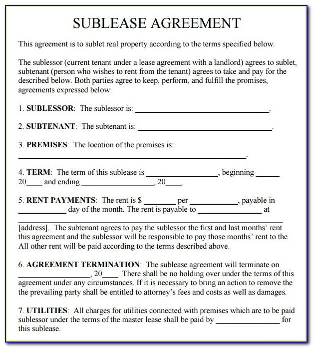Template Commercial Sublease Agreement