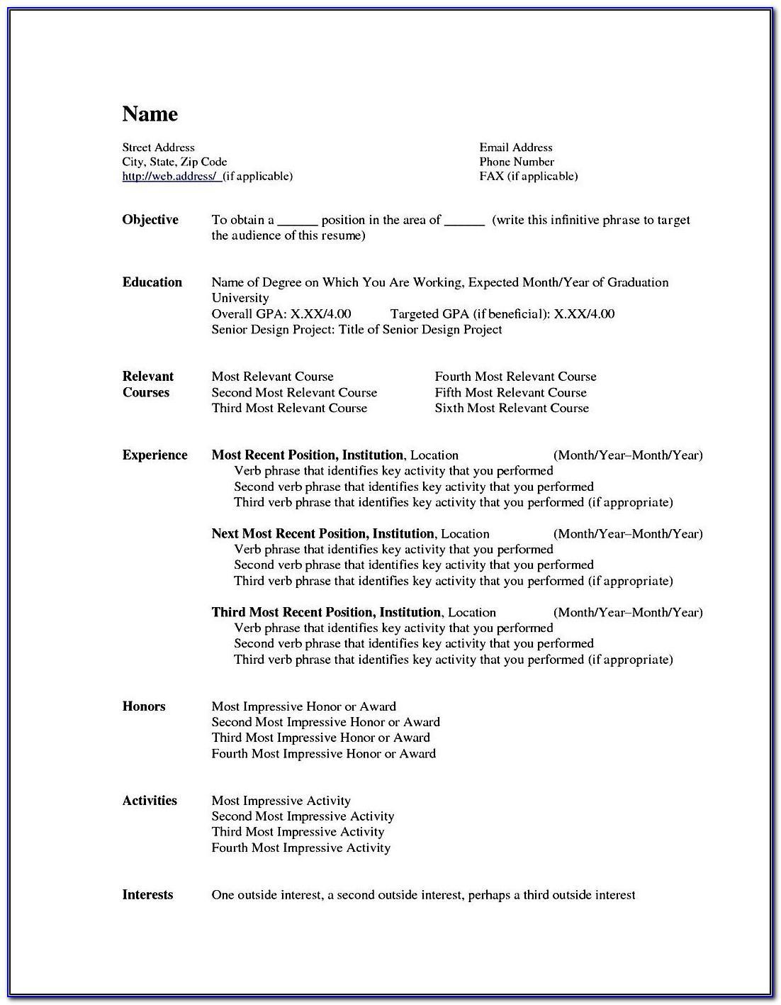 Template Curriculum Vitae Microsoft Word
