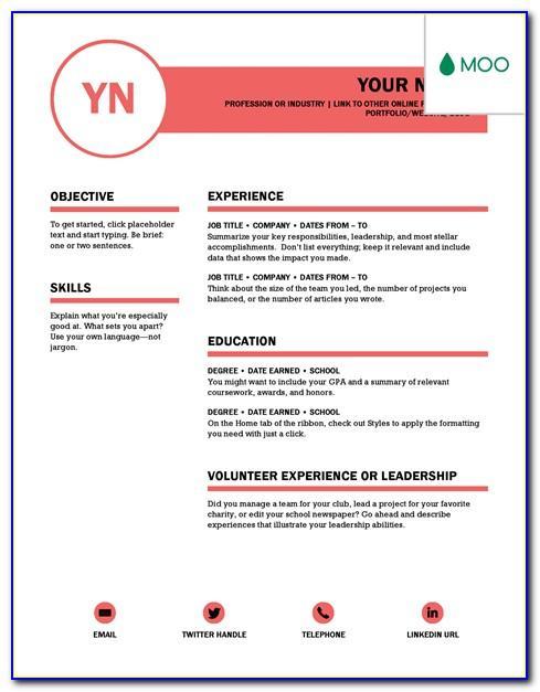 Template Curriculum Vitae Word Free