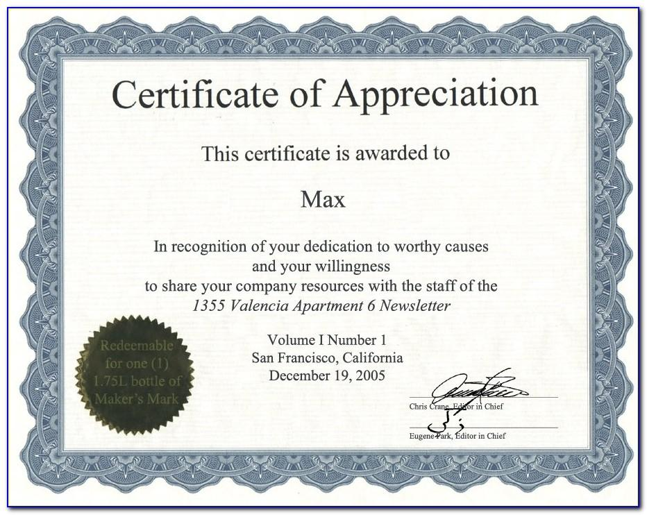 Template Design For Certificate Of Appreciation