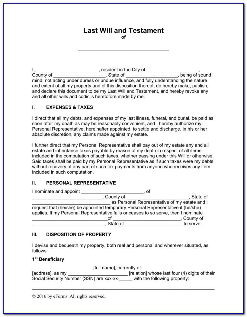 Template For A Will In Australia