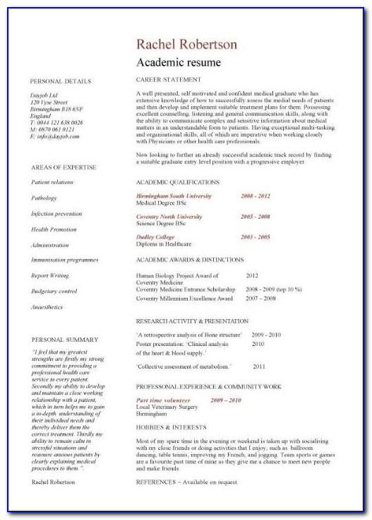 Template For Academic Curriculum Vitae
