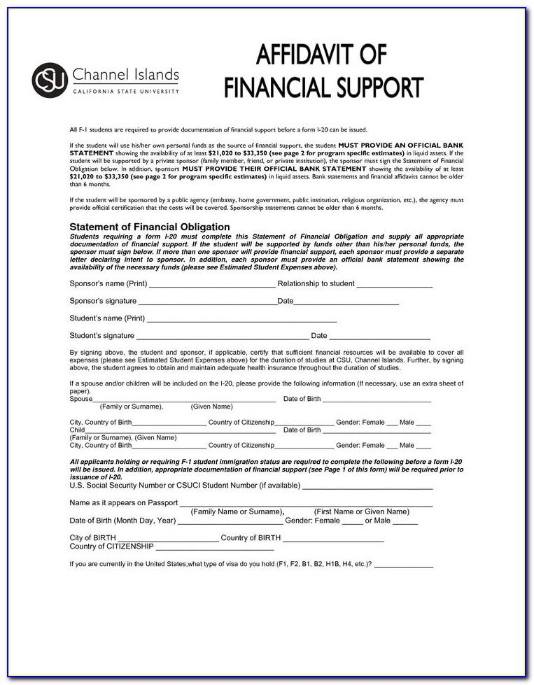 Template For Affidavit Of Marriage