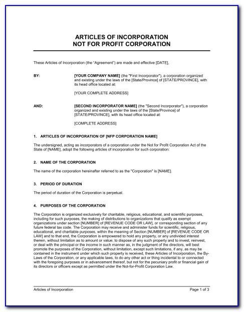 Template For Amendment To Articles Of Incorporation