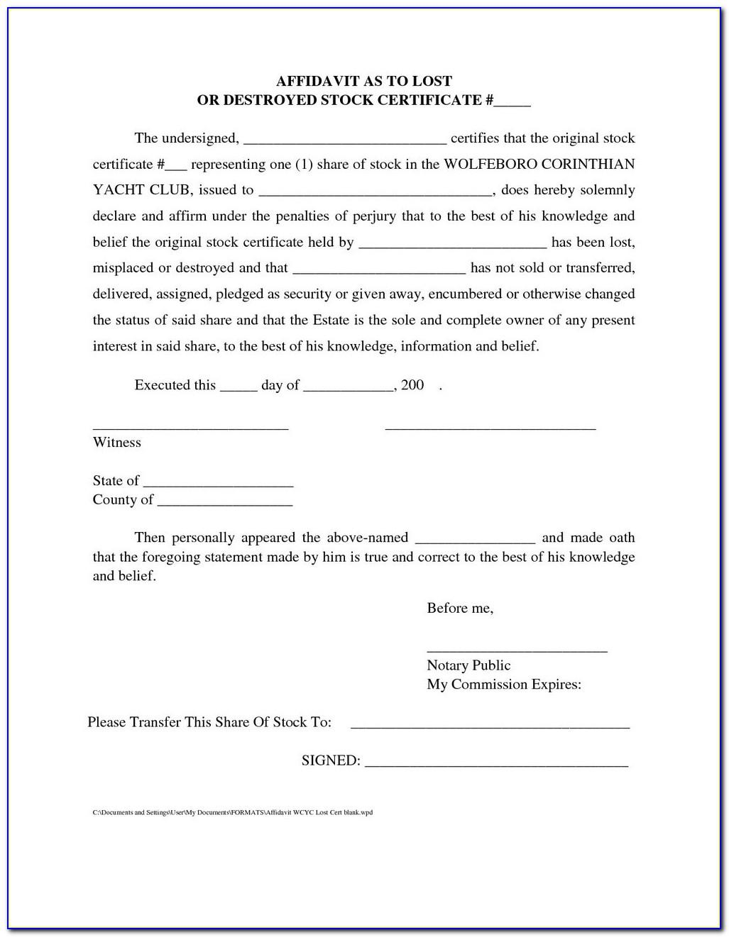 Template For An Affidavit In The Uk