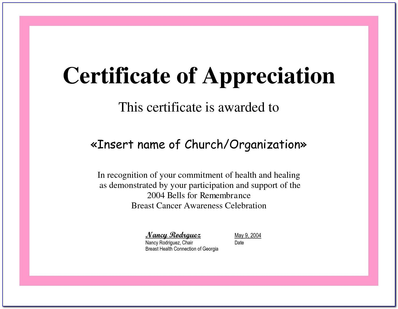 Template For Certificate Of Appreciation For Employees