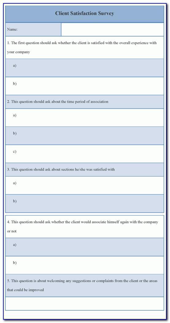 Template For Client Satisfaction Survey