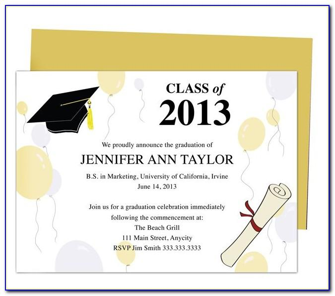 Template For College Graduation Invitation