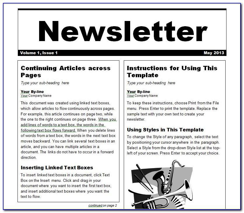 Template For Email Newsletter In Word