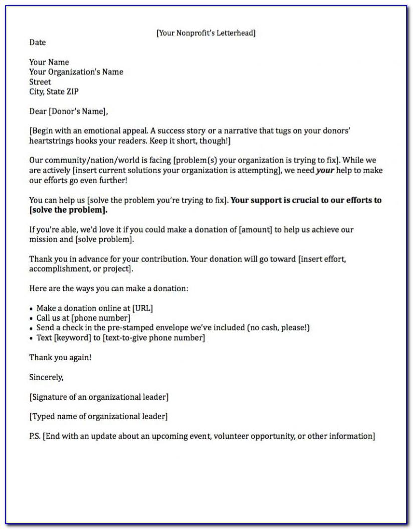 Template For Fundraising Donation Letter