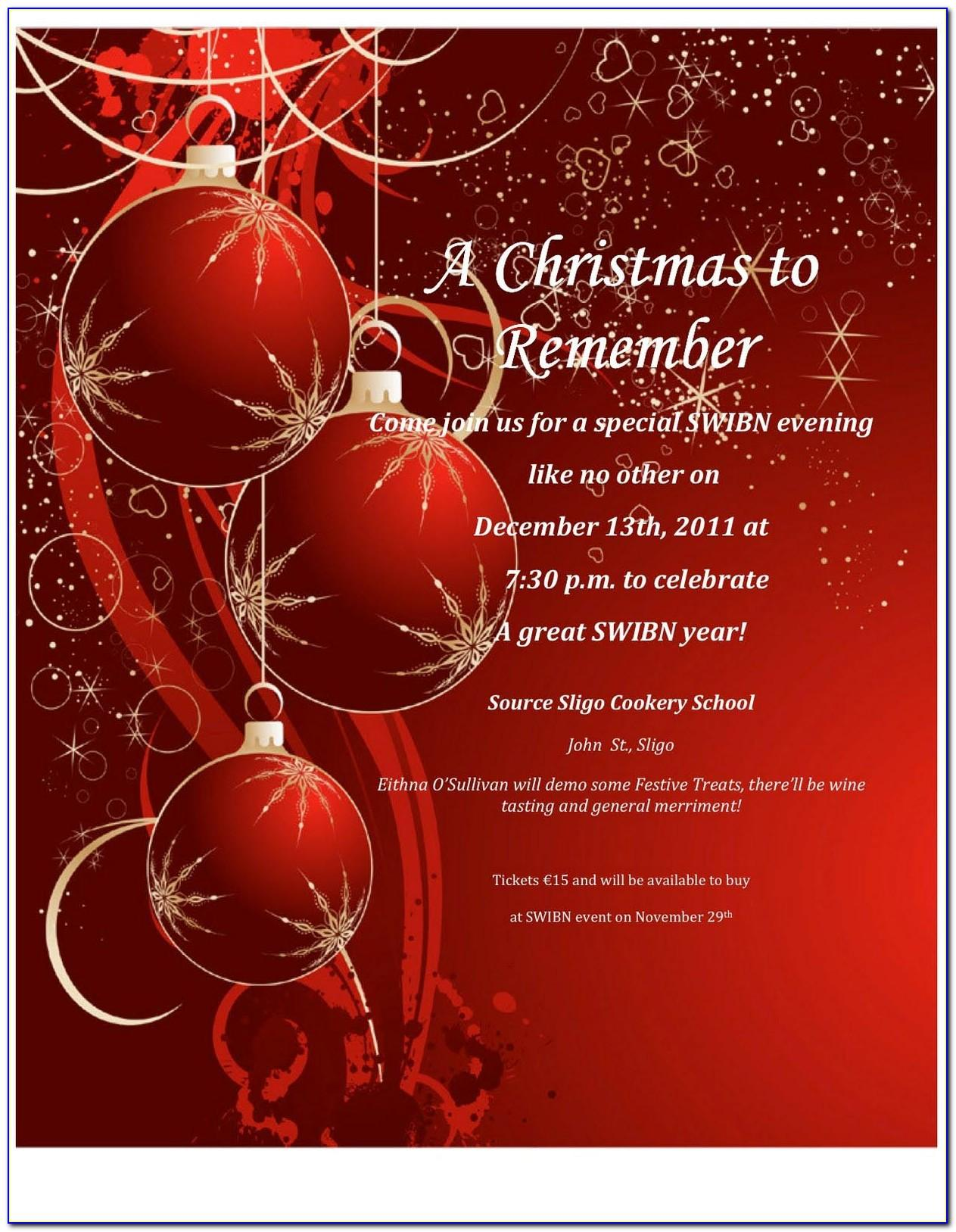 Template For Invitation Christmas Party