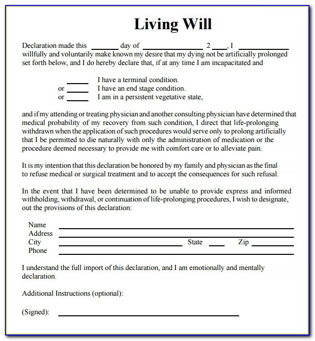 Template For Living Will