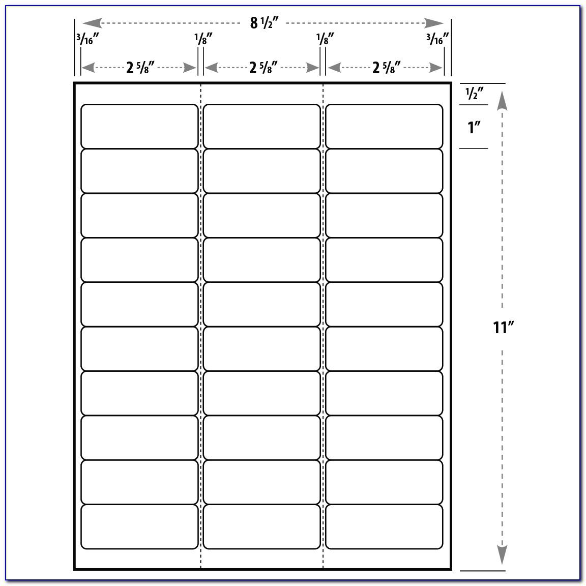 Template For Return Address Labels 30 Per Sheet