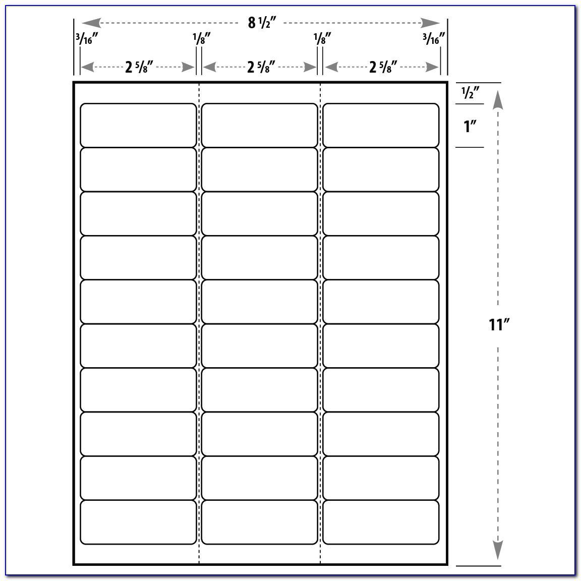 Template For Return Address Labels 30 Per Sheet