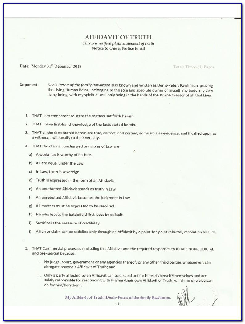 Template For South African Affidavit