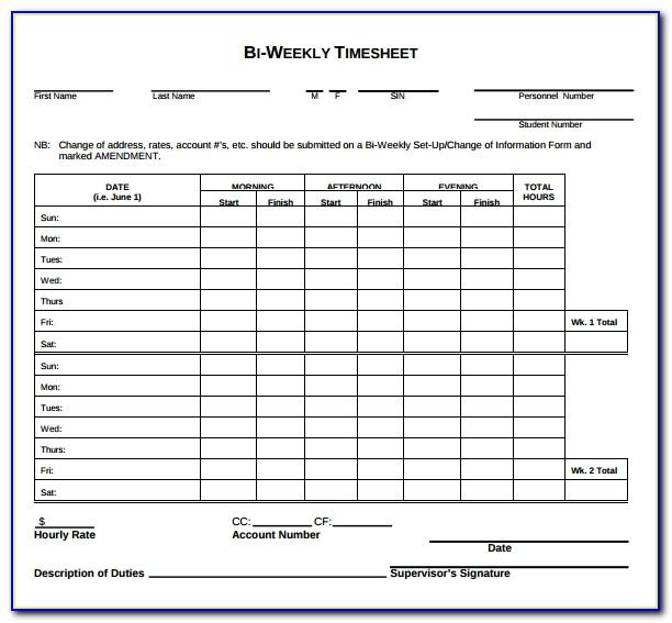 Template For Weekly Timesheet